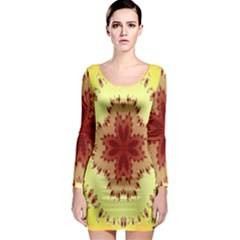 Yellow Digital Kaleidoskope Computer Graphic Long Sleeve Bodycon Dress