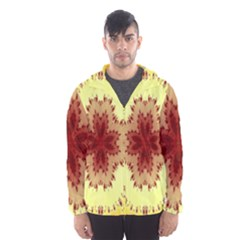 Yellow Digital Kaleidoskope Computer Graphic Hooded Wind Breaker (men)