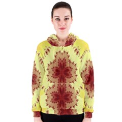Yellow Digital Kaleidoskope Computer Graphic Women s Zipper Hoodie