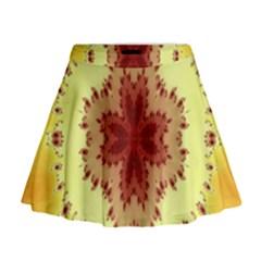 Yellow Digital Kaleidoskope Computer Graphic Mini Flare Skirt