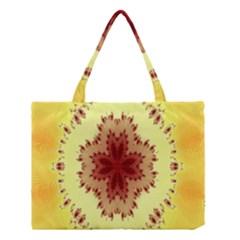 Yellow Digital Kaleidoskope Computer Graphic Medium Tote Bag