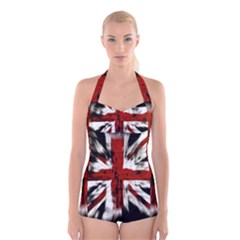 British Flag Boyleg Halter Swimsuit