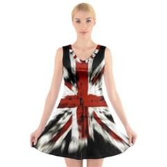 British Flag V Neck Sleeveless Skater Dress