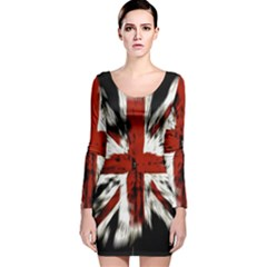 British Flag Long Sleeve Velvet Bodycon Dress
