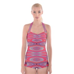 Hard Boiled Candy Abstract Boyleg Halter Swimsuit