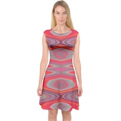 Hard Boiled Candy Abstract Capsleeve Midi Dress