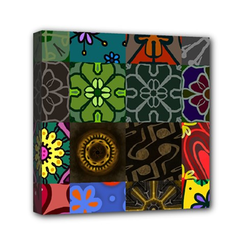 Digitally Created Abstract Patchwork Collage Pattern Mini Canvas 6  X 6