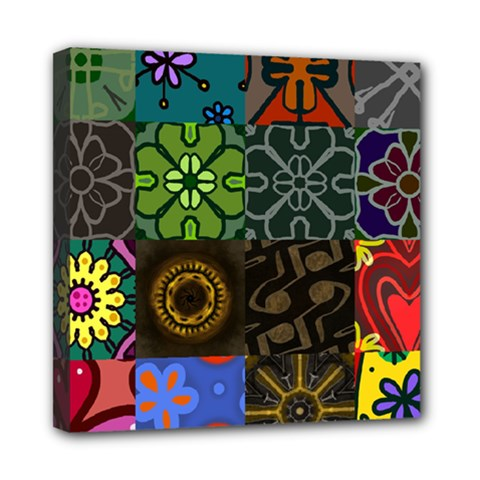 Digitally Created Abstract Patchwork Collage Pattern Mini Canvas 8  x 8