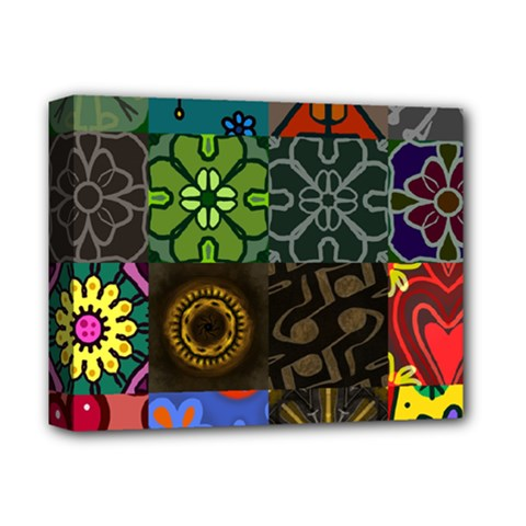 Digitally Created Abstract Patchwork Collage Pattern Deluxe Canvas 14  X 11