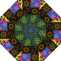 Digitally Created Abstract Patchwork Collage Pattern Golf Umbrellas