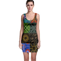 Digitally Created Abstract Patchwork Collage Pattern Sleeveless Bodycon Dress