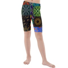 Digitally Created Abstract Patchwork Collage Pattern Kids  Mid Length Swim Shorts