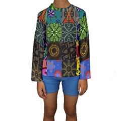 Digitally Created Abstract Patchwork Collage Pattern Kids  Long Sleeve Swimwear