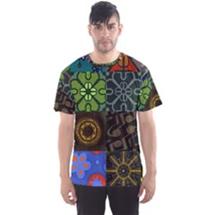 Digitally Created Abstract Patchwork Collage Pattern Men s Sport Mesh Tee