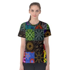 Digitally Created Abstract Patchwork Collage Pattern Women s Cotton Tee