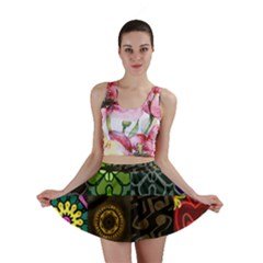 Digitally Created Abstract Patchwork Collage Pattern Mini Skirt