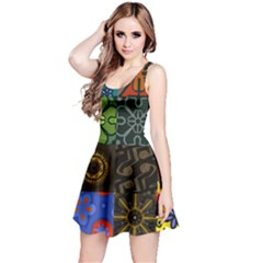 Digitally Created Abstract Patchwork Collage Pattern Reversible Sleeveless Dress
