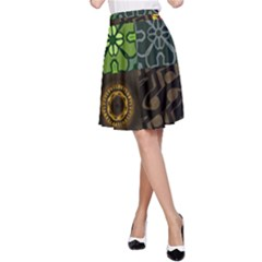 Digitally Created Abstract Patchwork Collage Pattern A-Line Skirt