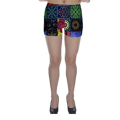 Digitally Created Abstract Patchwork Collage Pattern Skinny Shorts