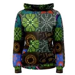 Digitally Created Abstract Patchwork Collage Pattern Women s Pullover Hoodie