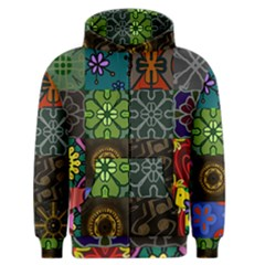 Digitally Created Abstract Patchwork Collage Pattern Men s Zipper Hoodie