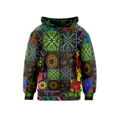 Digitally Created Abstract Patchwork Collage Pattern Kids  Zipper Hoodie