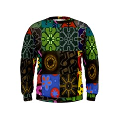 Digitally Created Abstract Patchwork Collage Pattern Kids  Sweatshirt