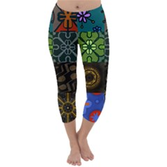 Digitally Created Abstract Patchwork Collage Pattern Capri Winter Leggings