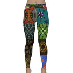 Digitally Created Abstract Patchwork Collage Pattern Classic Yoga Leggings