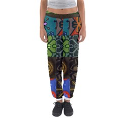 Digitally Created Abstract Patchwork Collage Pattern Women s Jogger Sweatpants