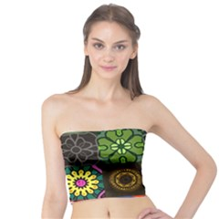 Digitally Created Abstract Patchwork Collage Pattern Tube Top