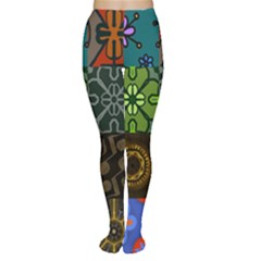 Digitally Created Abstract Patchwork Collage Pattern Women s Tights