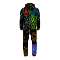 Digitally Created Abstract Patchwork Collage Pattern Hooded Jumpsuit (Kids)