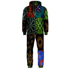Digitally Created Abstract Patchwork Collage Pattern Hooded Jumpsuit (men)