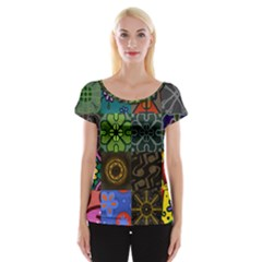 Digitally Created Abstract Patchwork Collage Pattern Women s Cap Sleeve Top