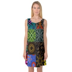 Digitally Created Abstract Patchwork Collage Pattern Sleeveless Satin Nightdress