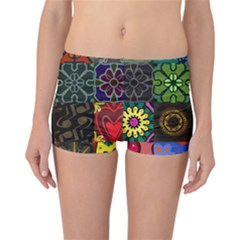 Digitally Created Abstract Patchwork Collage Pattern Reversible Bikini Bottoms