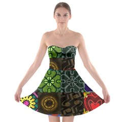 Digitally Created Abstract Patchwork Collage Pattern Strapless Bra Top Dress