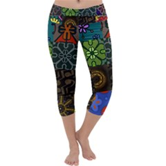 Digitally Created Abstract Patchwork Collage Pattern Capri Yoga Leggings