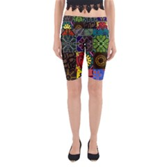 Digitally Created Abstract Patchwork Collage Pattern Yoga Cropped Leggings