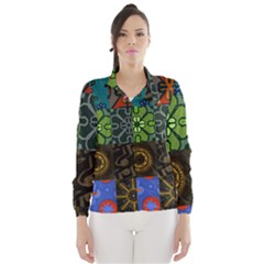 Digitally Created Abstract Patchwork Collage Pattern Wind Breaker (Women)
