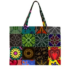 Digitally Created Abstract Patchwork Collage Pattern Large Tote Bag