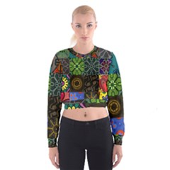Digitally Created Abstract Patchwork Collage Pattern Women s Cropped Sweatshirt