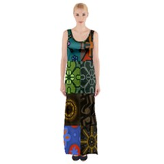 Digitally Created Abstract Patchwork Collage Pattern Maxi Thigh Split Dress