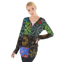 Digitally Created Abstract Patchwork Collage Pattern Women s Tie Up Tee