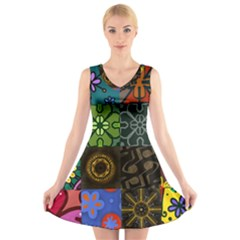 Digitally Created Abstract Patchwork Collage Pattern V Neck Sleeveless Skater Dress