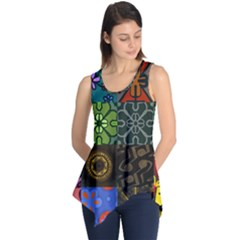 Digitally Created Abstract Patchwork Collage Pattern Sleeveless Tunic