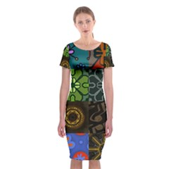 Digitally Created Abstract Patchwork Collage Pattern Classic Short Sleeve Midi Dress