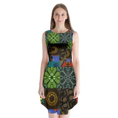Digitally Created Abstract Patchwork Collage Pattern Sleeveless Chiffon Dress