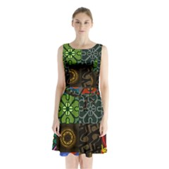 Digitally Created Abstract Patchwork Collage Pattern Sleeveless Chiffon Waist Tie Dress